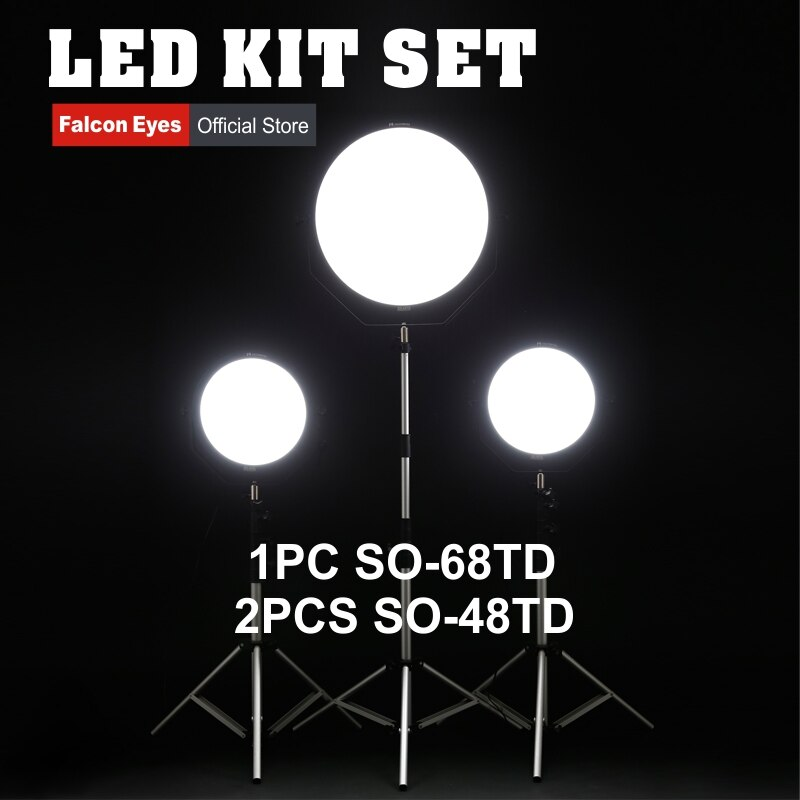 Ojos Falcon 48W 68W LED Panel Kit regulable alta CRI95 3000-5600K iluminación foto Video luz continua SO-48TD SO-68TD