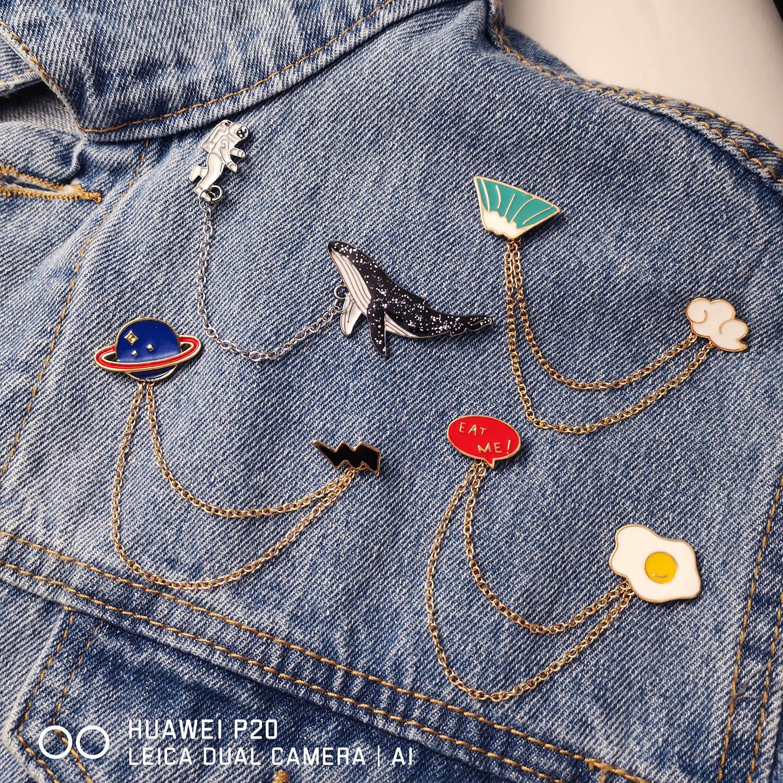 Rinhoo Galaxy Monn Astronaut Fuji mountain Egg Deer Whale Dog Animal Tassel Pins Brooches Badges for Women Men Cute Pin