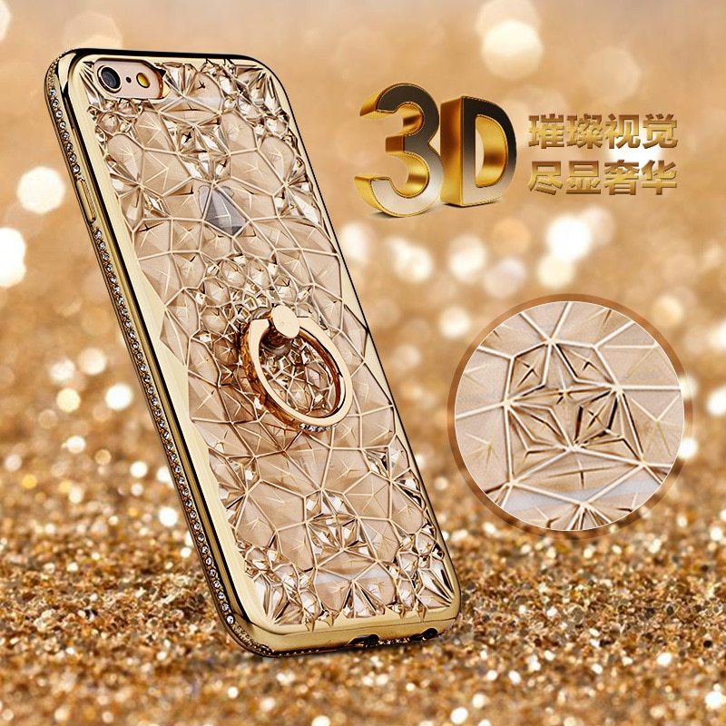 Чехол для iPhone 11 Pro XS Max XR, роскошное мягкое 3D кольцо для iPhone SE 2020 5 6 7 8 Plus, кольцо, силиконовый блестящий чехол-подставка со стразами
