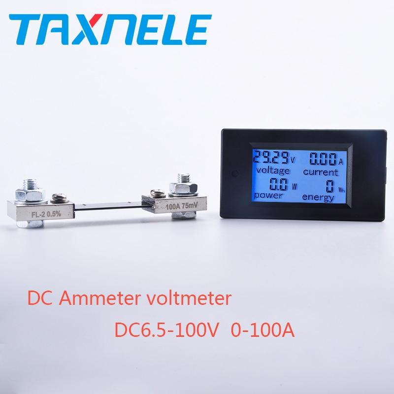 Voltímetro de CC, amperímetro de potencia, medidor de corriente de voltaje Digital LCD de 4 pulgadas CC 6,5-100V 0-100a con derivación de CC 100A/75mV