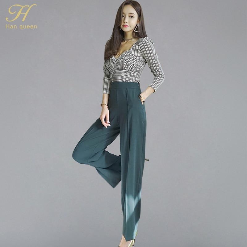 H Han Queen 2018 otoño nueva camisa Sexy a rayas con cuello en V Top y pantalones largos de pierna ancha sólidos OL coreano conjunto de 2 piezas trajes