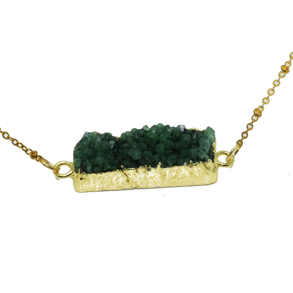 1 pc de moda joyas de piedra natural rectángulo conector collar verde de cristal en bruto geoda druzy cuarzo Collar para las mujeres