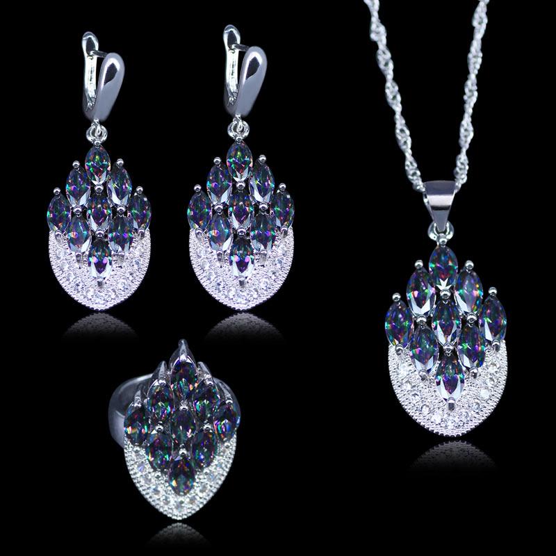 Regalo de Navidad para mujeres Color plata mujeres 3 uds regalo de joyería arcoíris místico cristal piedra collar pendientes conjunto de anillos