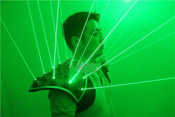 Laserman verde muestra traje de hombro LED chaleco luminoso chaleco verde láser hombre traje ropa para fiesta cosplay