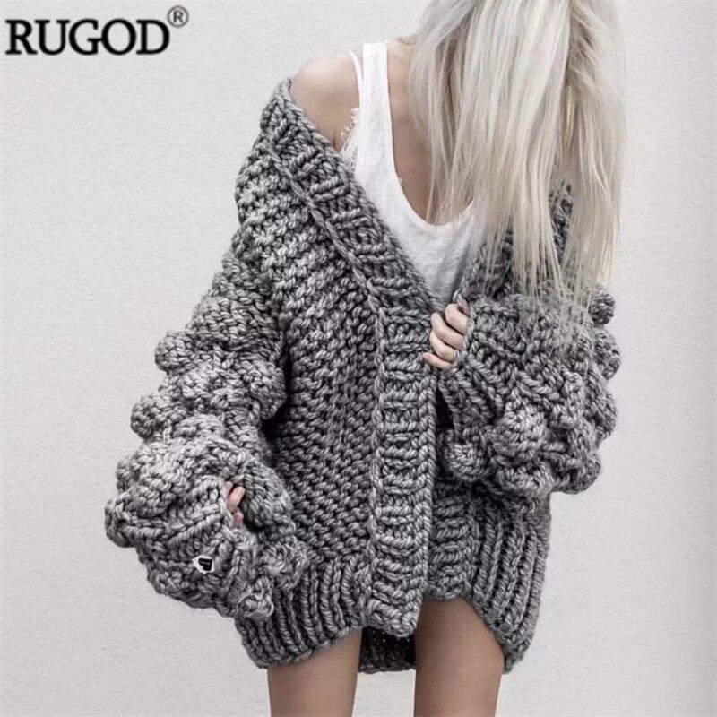 RUGOD 2019 Neue Winter Mäntel Frauen Warme Gehäkelte Laterne Hülse Strickjacke Frauen Mode Multi Farbe Gestrickte Pullover Casaco Femme