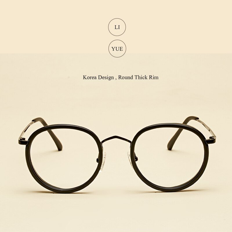 LIYUE Glasses Frames eyewear Round oculos de grau classic metal legs Retro clear lens Nerd Frames Fashion women eyeglasses