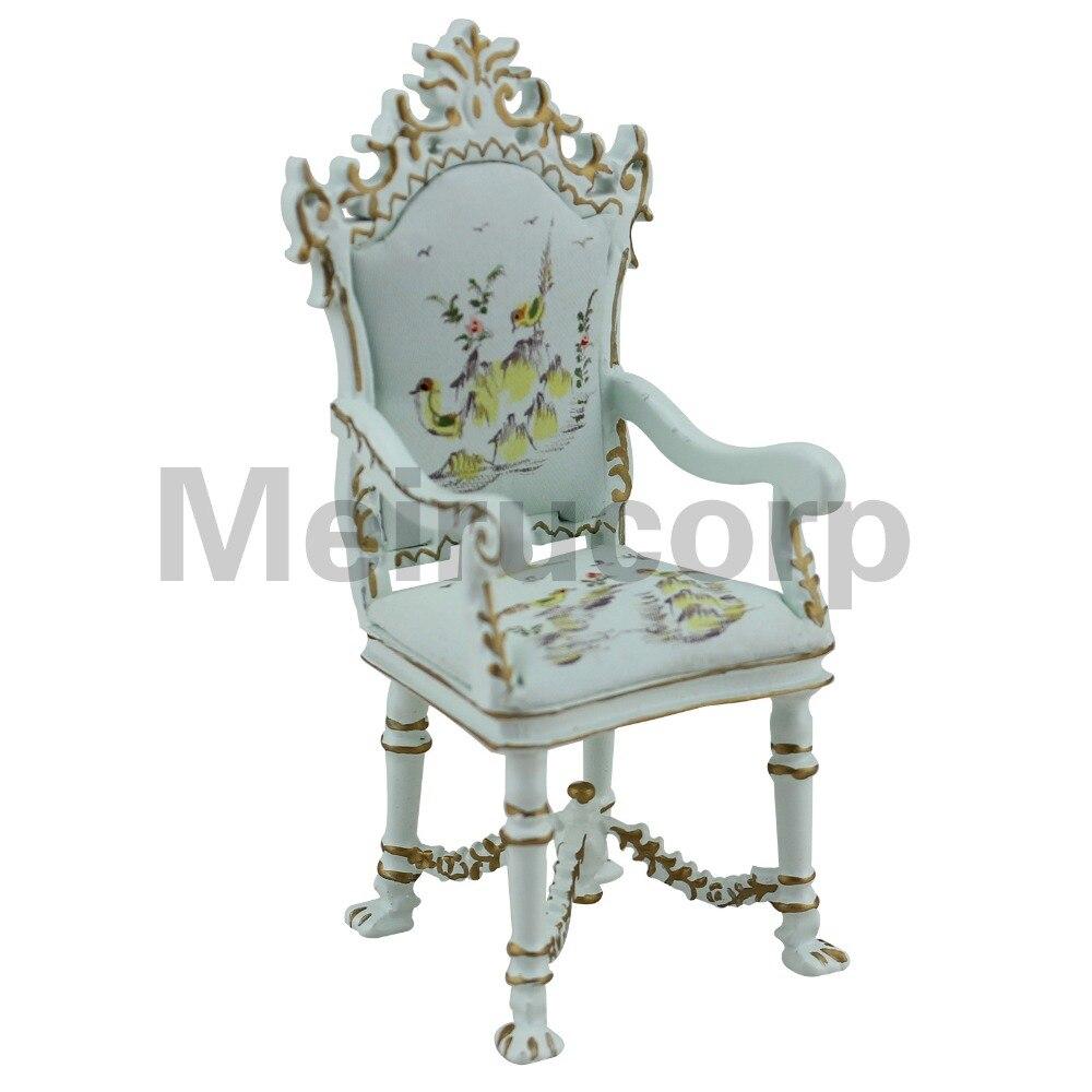 Muebles para casa de muñecas, 1/12 °, pintura de paisaje pintada a mano, sillón de estilo clásico