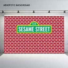 MEHOFOTO Red Bricks Wall Sesame Street Elmo World Birthday Party Custom Backdrop for Photography Photo Studio Background