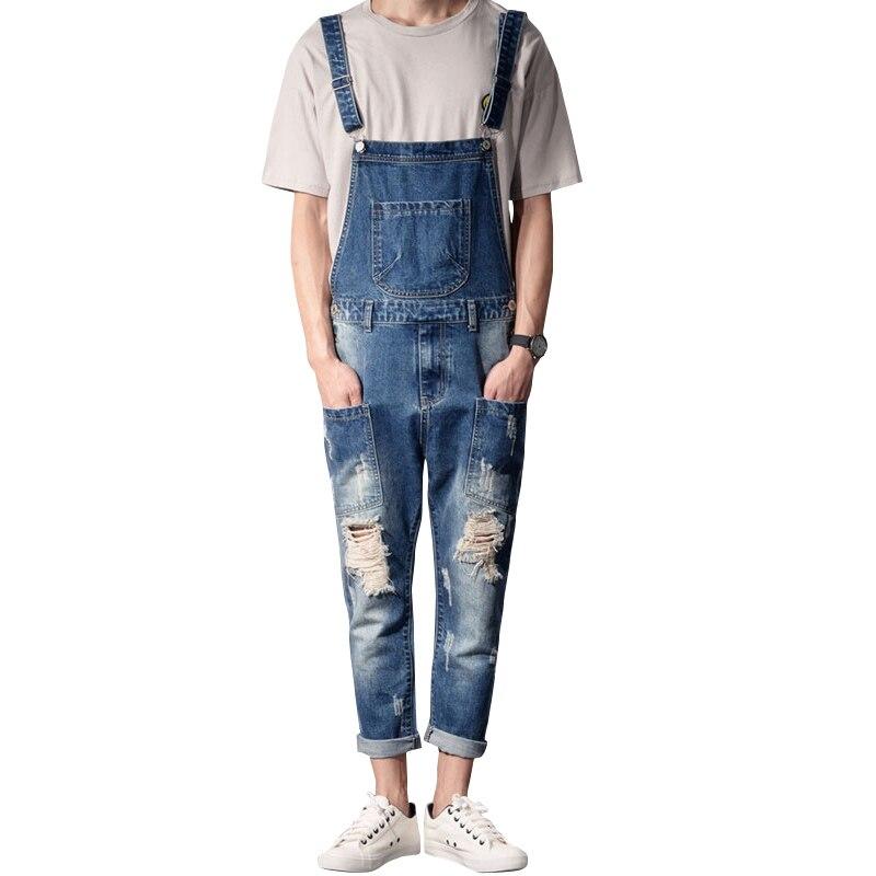 Descuento verano para hombre moda Casual Mono vaquero pantalones vaqueros delgados pantalones Vintage rasgados tamaño S-XXL
