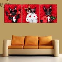 cool dog wearing sunglasses wedding room decoration red rose unframed painting 3 piecesset canvas wall art