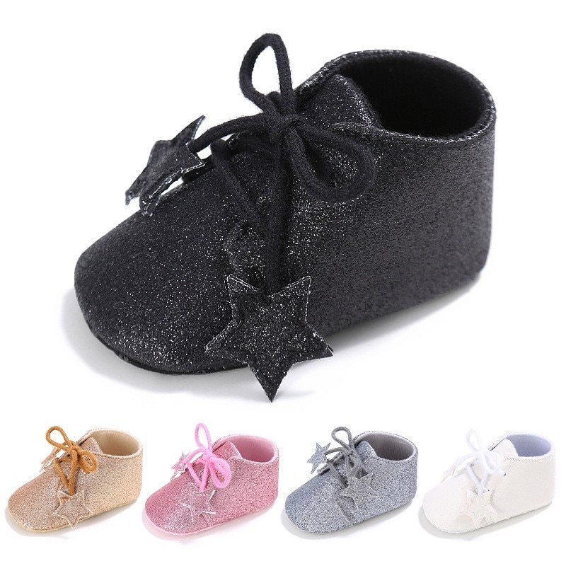Brilhante Estrela Sapatos de Bebê Meninas Da Criança Sapatos Lace-Up Sapatos Esportivos Casuais Sapatos de Sola Macia Do Bebê Primavera/Outono