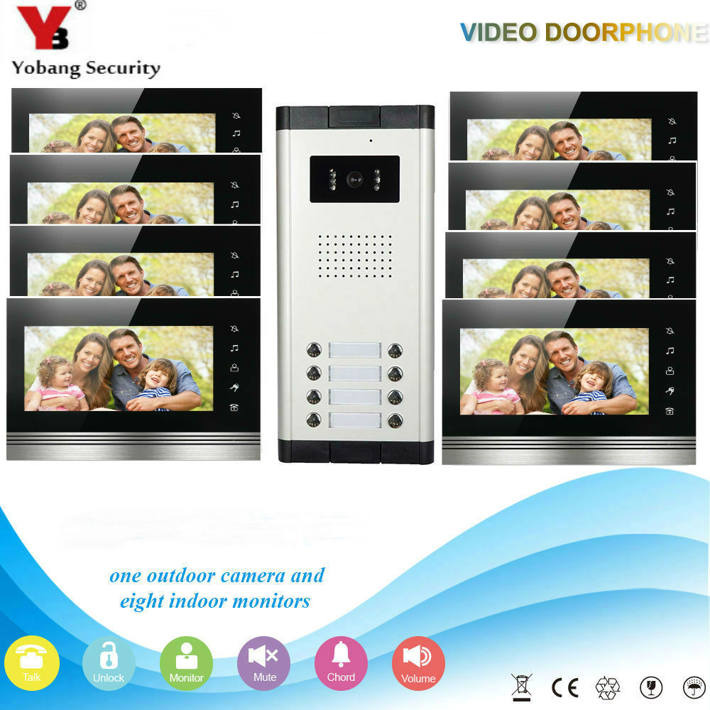 """Yobang Security 7"""" HD Video Intercom Apartment Entry Door Phone System 8 Monitor 1 Doorbell Camera 8 Button In Stock Wholesale"""
