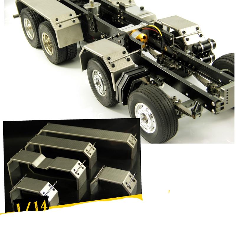 1 par 114 guardabarros de arco de llamarada para camión Tractor, rueda de acero inoxidable, guardabarros con ruedas metálicas de CEJA para 114, piezas modificadas para coches RC