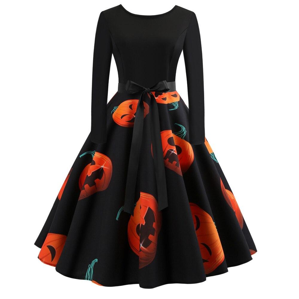 Vestido de Halloween para mujeres de manga larga Retro Vintage de poliéster otoño vestidos de fiesta calabaza Swing banquete Ball 1018