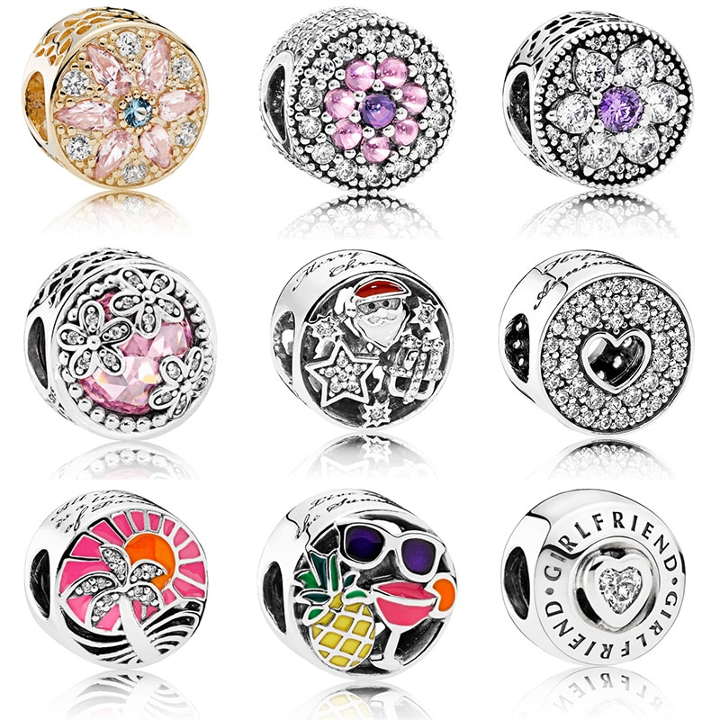 Grânulos de cor de prata estilo tropical flor cristal esmalte grânulo para pandora original charme pulseiras & pulseiras jóias