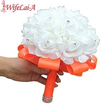 Белый букет из ПЭ розы, букет из пенных цветов на свадьбу, 15 цветов на заказ