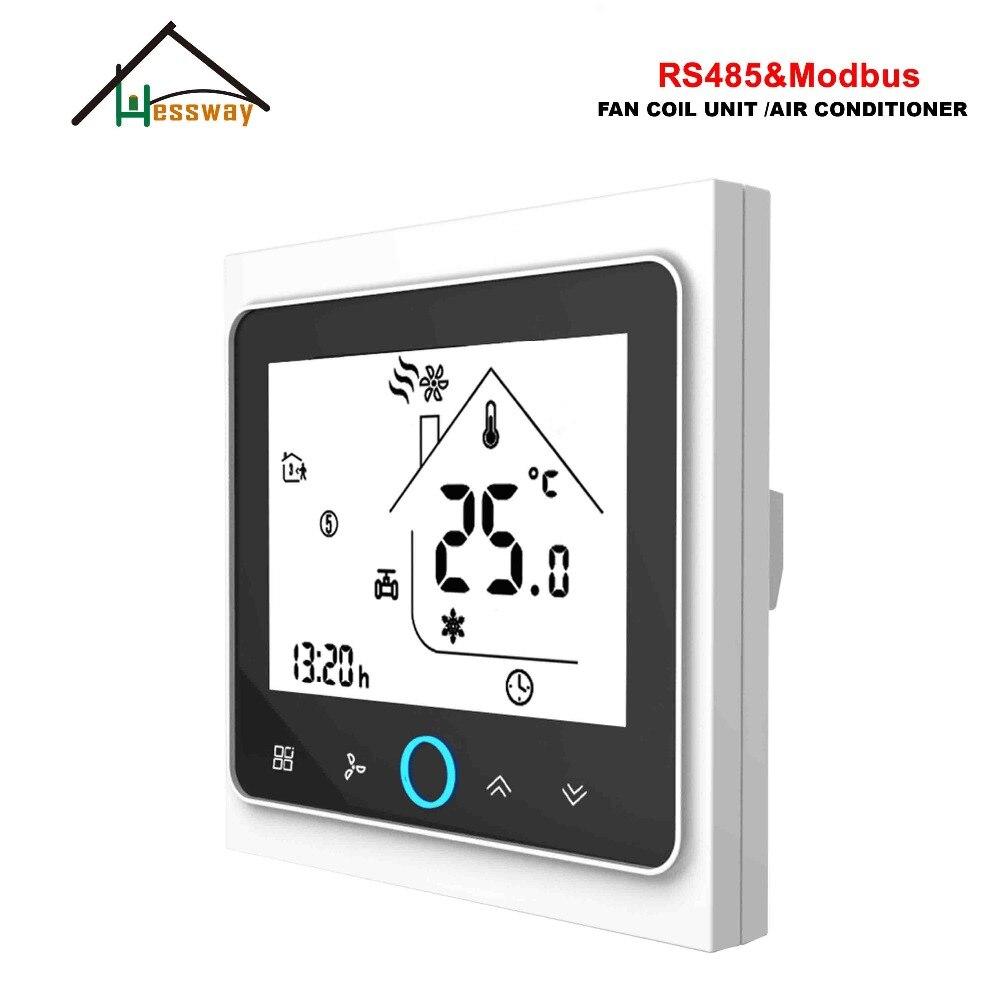 Unidad de bobina de ventilador de tubo HESSWAY 4pipe 2 termostato de pared Digital modbus RS485 para interruptor de calefacción de refrigeración