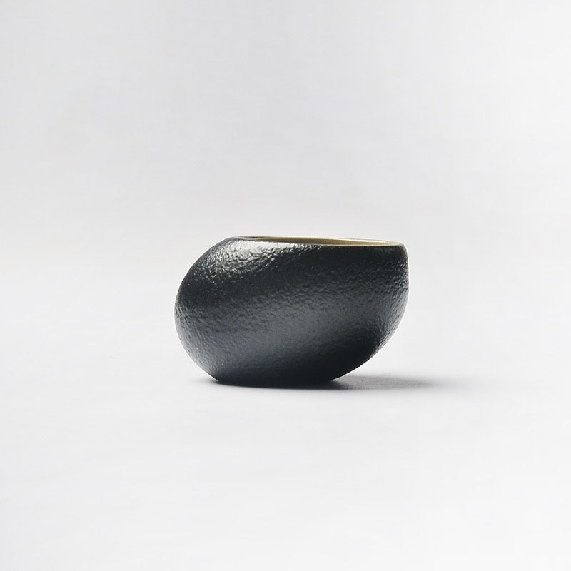 Hecho a mano japonés Zen negro esmalte de cerámica piedra taza de té cerámica áspera cerámica tazón de té Kung Fu té Puer té Oolong taza de té 50ml