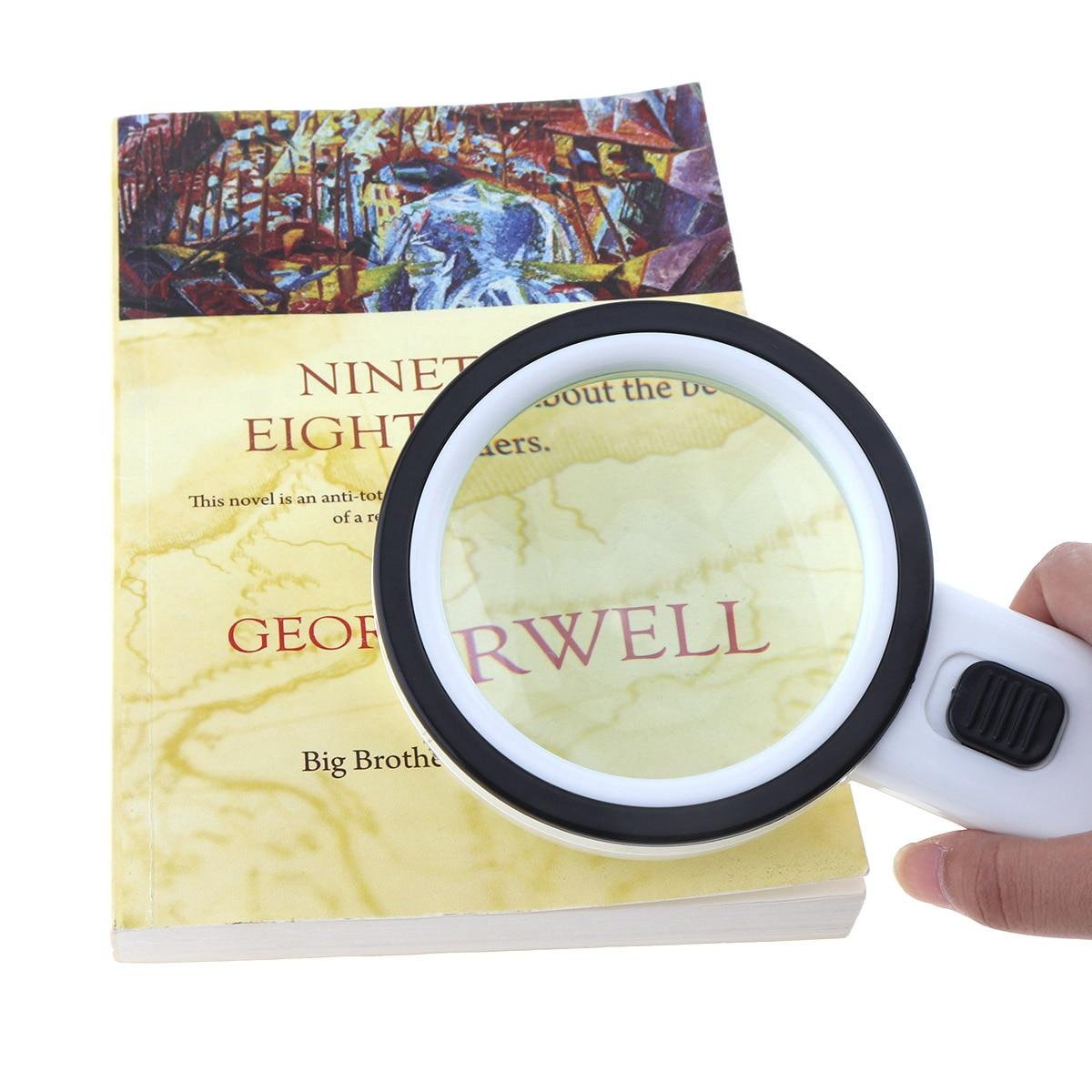 80mm 30x lupa handheld lente óptica lupa ferramenta lupa com 12 led luz para antiguidade apreciar/leitura