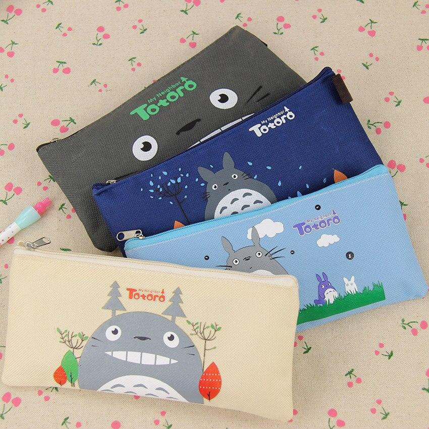 1 unidad de cartuchera Kawaii de dibujo de Totoro de simulación, estuche suave de tela, bolígrafo de papelería escolar, bolsa de regalo para chica y Estudiante