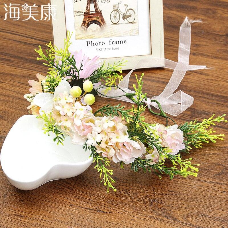Haimeikang 2019 New Fashion Girls Flower Garlands Lace Up Headband Bride Wedding Floral Headwear for Women Hair Accessories