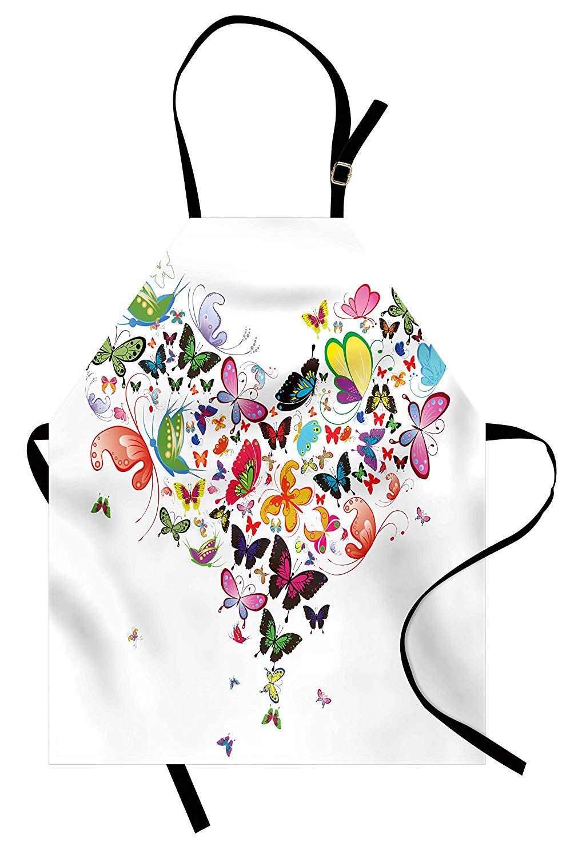 Delantal de corazones con forma de gran corazón de varios tipos de coloridas mariposas voladoras en la naturaleza pechera para cocina delantal para hornear