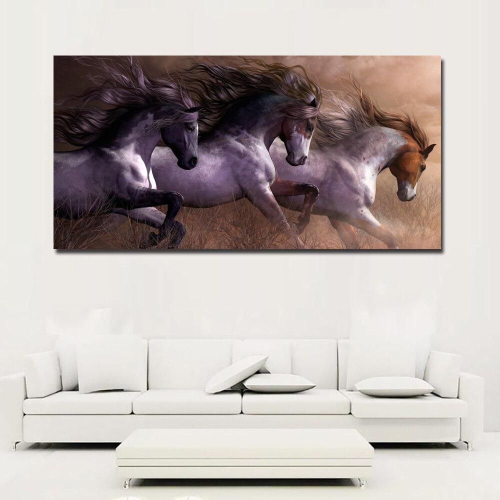 Imágenes artísticas modernas de animales para pared para sala de estar decoración del hogar lienzo pintura The three Running Horse arte vintage pintura sin marco