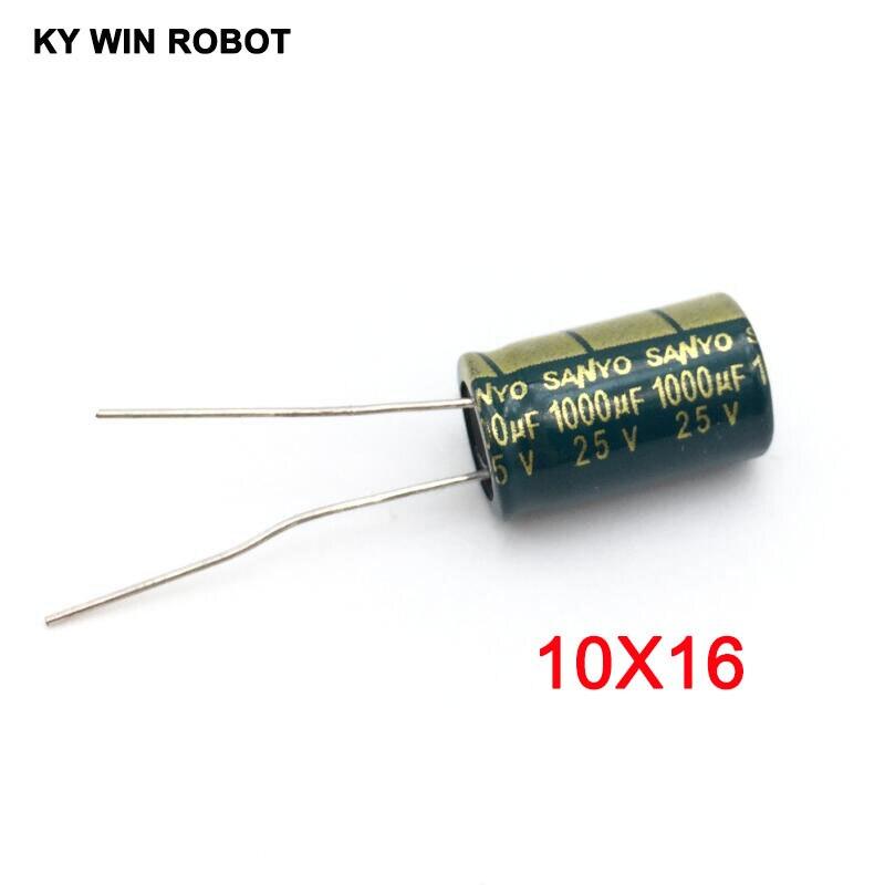 10 шт./лот 25 в 1000 мкФ 10*16 высокочастотный низкоимпедансный Алюминиевый Электролитический Конденсатор