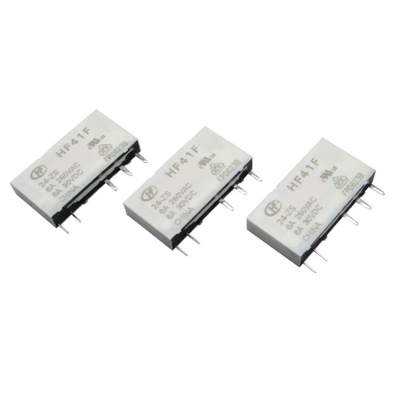 2 teile/los relais HF41F-005-ZS HF41F-012-ZS HF41F-024-ZS 5VDC 12VDC 24VDC 6A 5pin