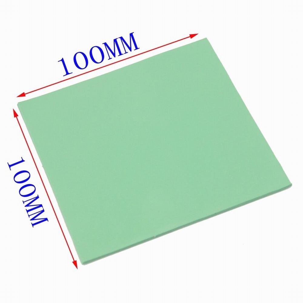 1 Uds 100mm * 100mm * 1mm GPU CPU Chip gráfico disipador térmico fresco almohadilla de silicona conductora verde 100mm x 1mm