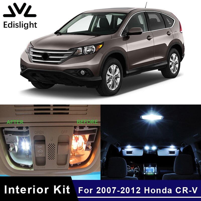Edislight 8 Uds blanco hielo azul lámpara LED bombillas de coche Kit de paquete de interiores para 2007-2012 CR-V Honda CRV mapa cúpula maletero luz de placa de