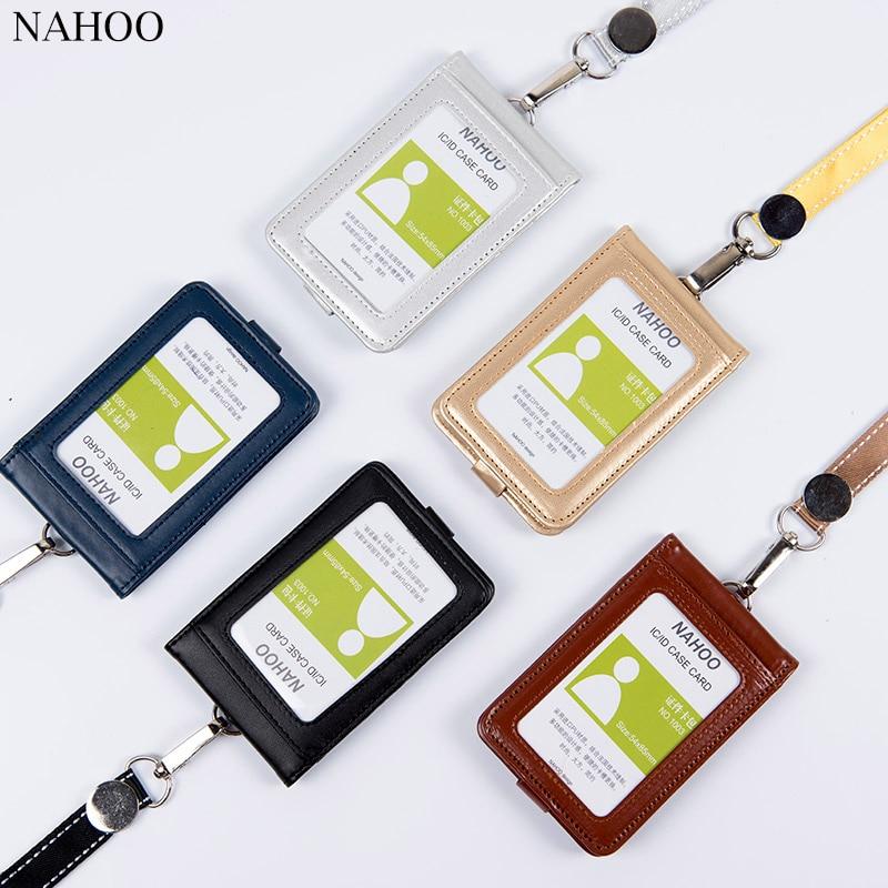 Nahoo porte-Badge didentification porte-Badge mignon porte-nom en plastique porte-porte-cartes en cuir véritable porte-carte de crédit bancaire porte-nom fournisseur de bureau