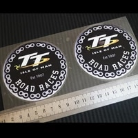 2pcs moto car styling decals for tt isle of man chain round icon reflective sticker