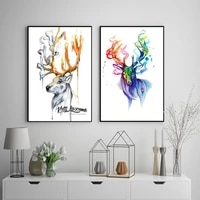 deer splash watercolor style wall art canvas painting poster for home decor posters and prints unframed decorative pictures