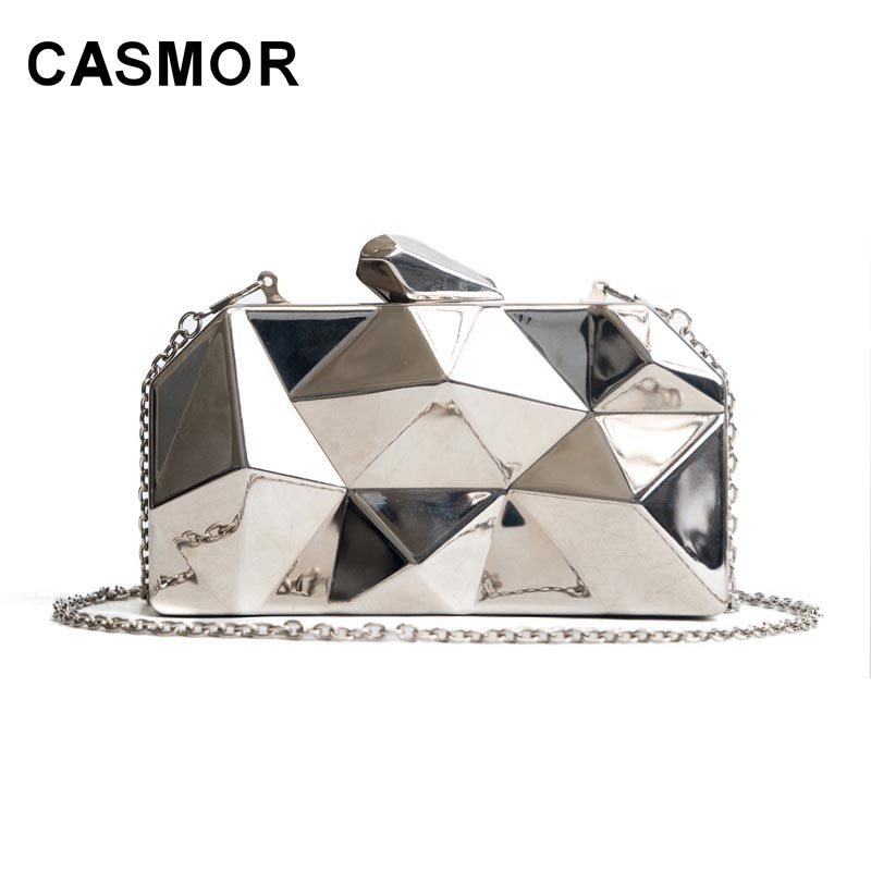 CASMOR 2019 Women Fashion Handbags Silver Metal Hexagon Clutches Geometric Mini Party Black Purse High Quality Bags Box Clutch