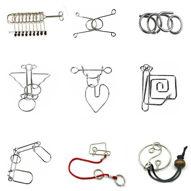 Juguetes Educativos 25 unids/set IQ cerebro Teaser Disentanglement Metal alambre rompecabezas para la novedad juguete de cumpleaños juguete educativo conjunto de regalo
