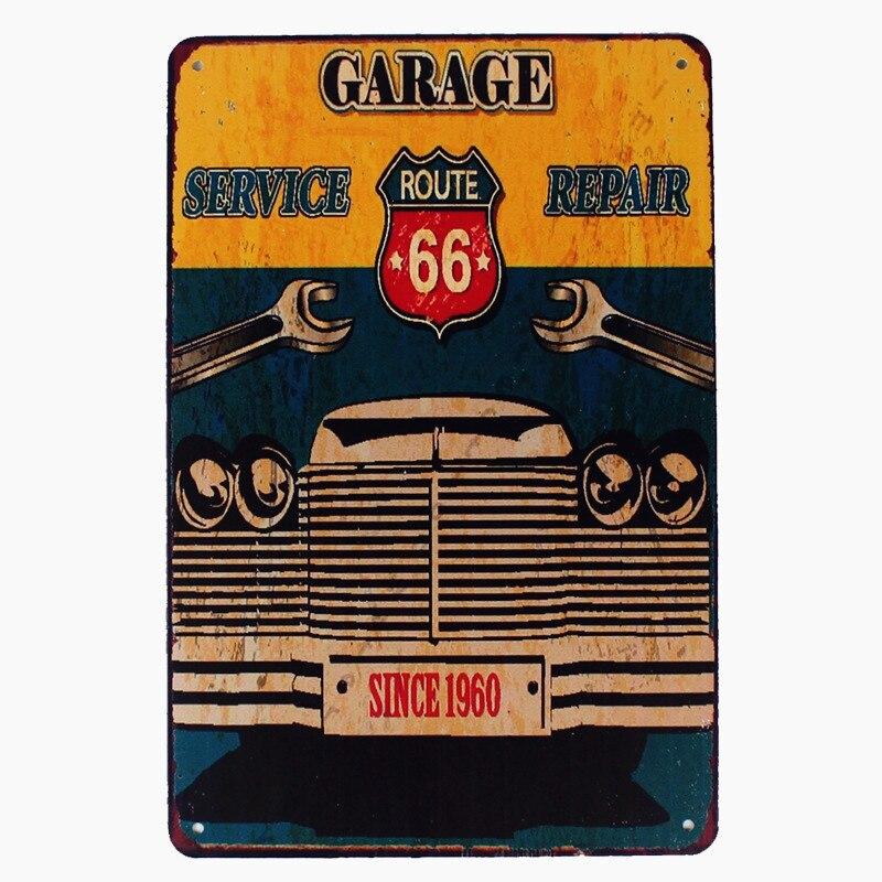 Rota 66 garagem metal do vintage estanho sinais placas da motocicleta bar pub clube adesivos de parede garagem decoração para casa placas 20*30cm n139
