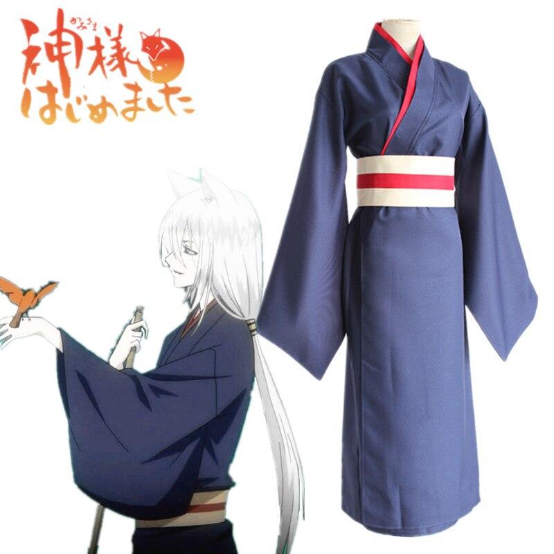 Anime Kamisama Hajimemashita/Kamisama beso Tomoe disfraces, uniformes Cosplay Kamisama amor lleno set de kimono (Traje + cinturón)
