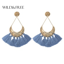 Wild&Free New Style Handmade Tassel Earring 2 Colors Vintage Women Earings Big Drop Earrings Bohemian Jewellery Birthday Gifts