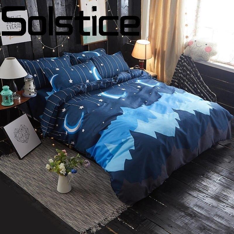 El solsticio de textiles para el hogar de Aloe de algodón cómodo transpirable impreso hoja de cama funda de edredón funda de almohada ropa de cama 3/4 Uds
