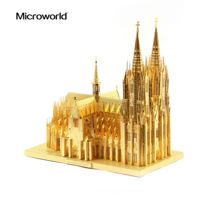 2017 Microworld 3D Metal nano puzle la catedral de Colonia edificio modelo Kits J030 DIY 3D juguetes cortados con láser para la auditoría