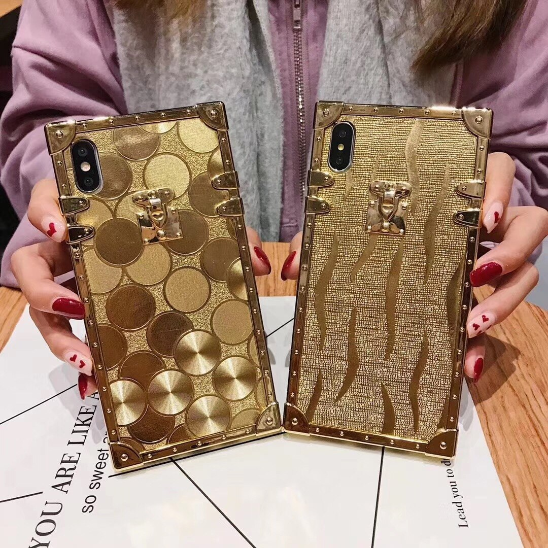Funda blanda de lujo cuadrada dorada carcasa de purpurina para Samsung S10 Plus S9 S8 3D de alta calidad para iphone 11 Pro X XR XS MAX 6 7 8 coque