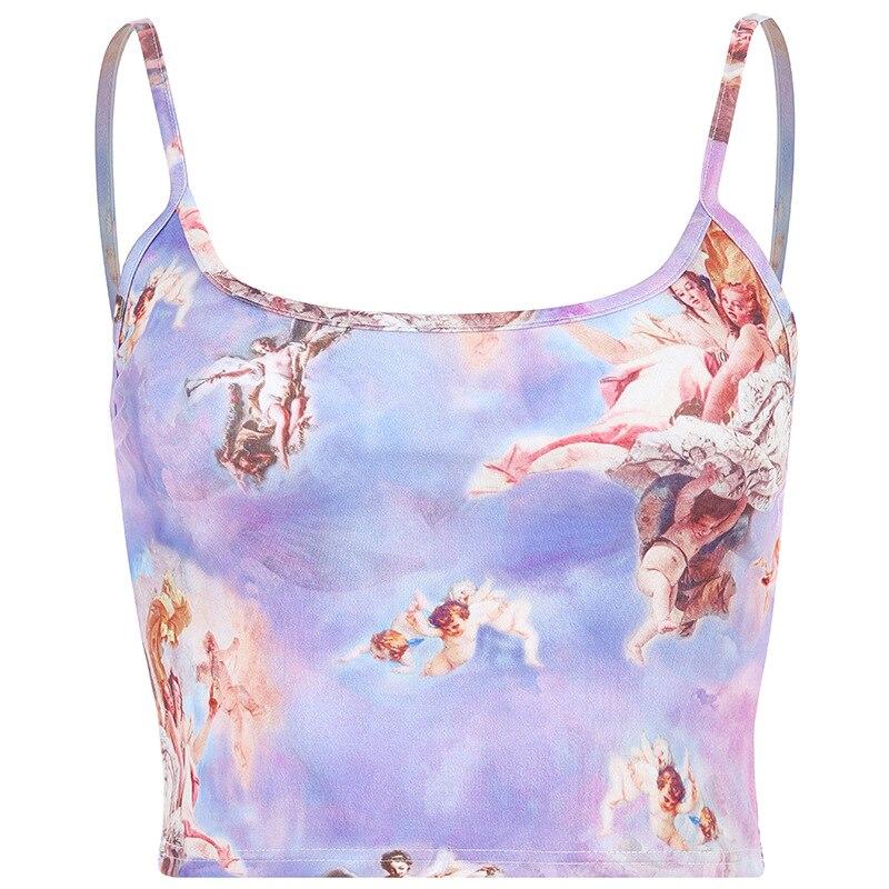 Verano moda Angel Cupid Tops cortos con estampado verano Mujer Streetwear camisola delgada Tops Casual femenino básico rebelde chalecos nuevo