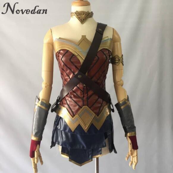 Nuevo 2020 disfraz de Wonder Woman Cosplay Top/falda/brazalete/correa de hombro/diadema Tiara/brazalete/Leggings Mulher Maravilha