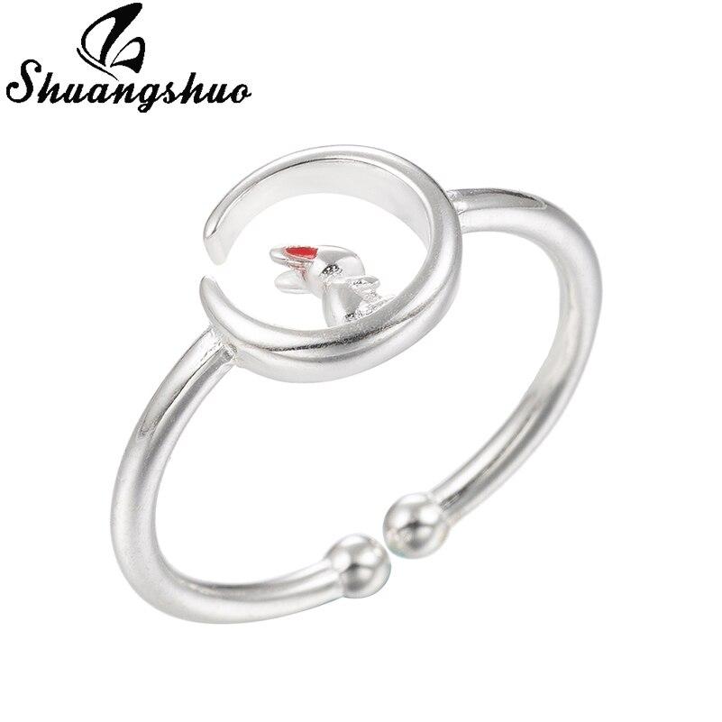 Shuangshuo super słodki zwierząt królik pierścień Vintage regulowany rozmiar projekt koło Bunny w kształcie królika pierścienie na biżuteria dziewczęca prezent