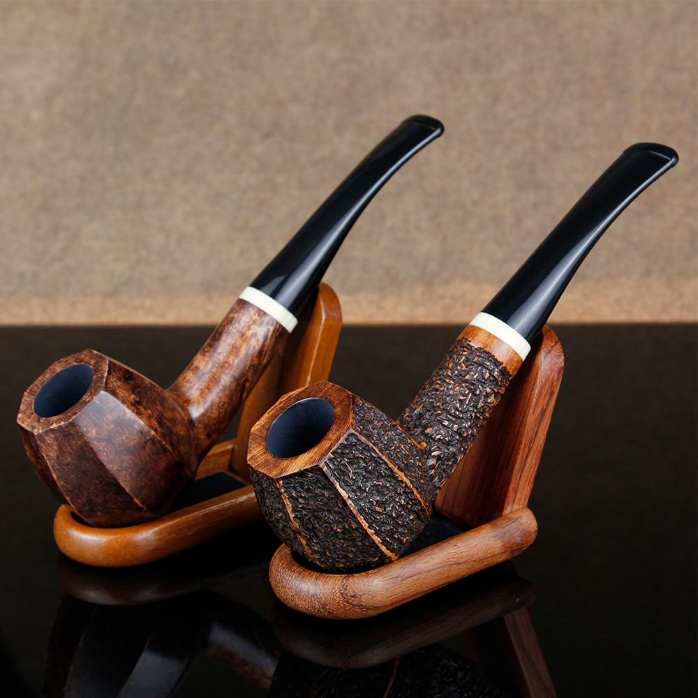 Pipa de fumar octagonal recta, pipa de madera de 9mm, anillo blanco, pipa de tabaco, juego de regalo, herramientas gratis