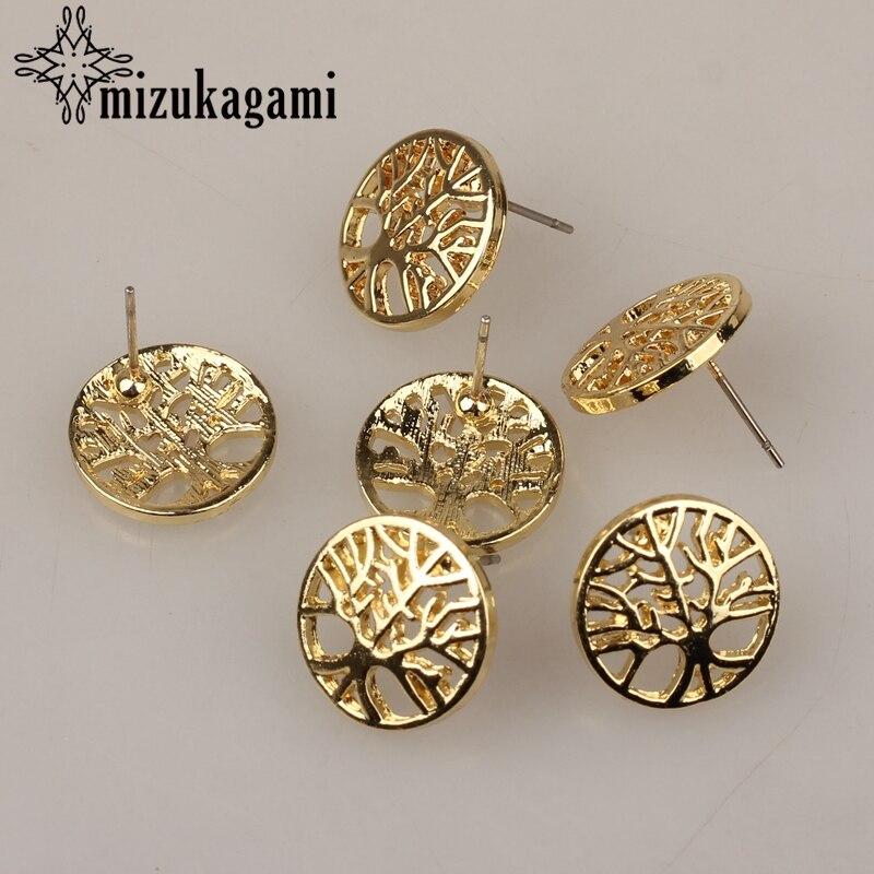 Pendientes de joyería accesorios de aleación de Zinc árbol dorado de la vida pendientes básicos conectores chrm 15mm 6 unids/lote