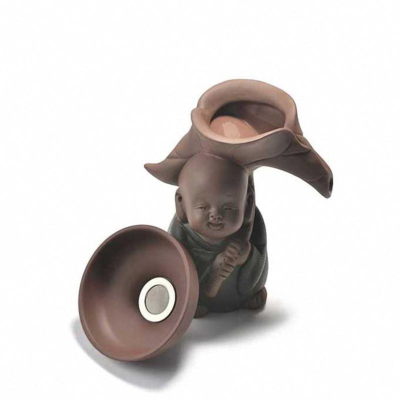 PINNY-مصفاة شاي من السيراميك الراهب ، مصنوعة يدويًا ، أوراق الشاي ، فلتر توابل ، إكسسوارات احتفالية ، كونغ فو صيني