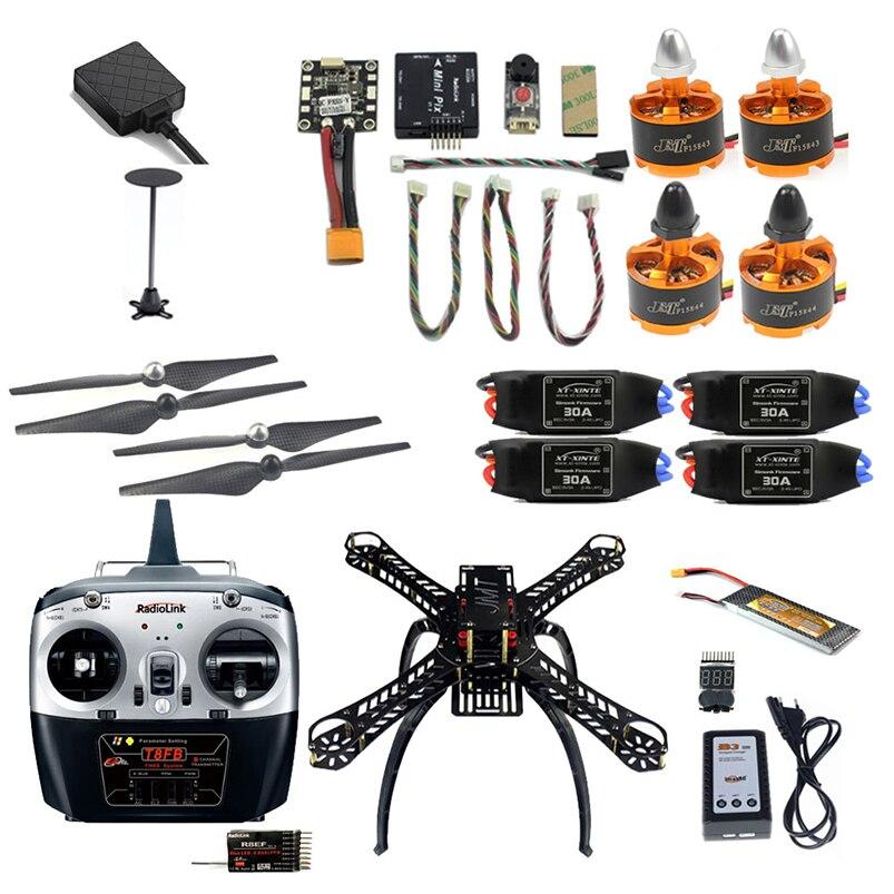 2,4G 8CH 360 Mini RC avión desmontaje DIY Quadcopter FPV actualizable con Radiolink Mini PIX M8N GPS Módulo de retención de altitud