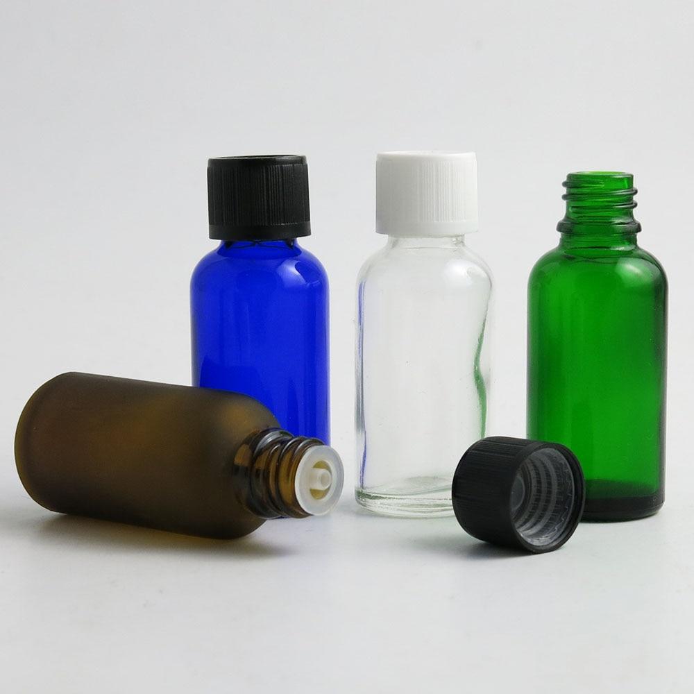 360 قطعة/الوحدة 1 أوقية 30 مللي الأخضر واضح براون الأزرق الزجاج الضروري النفط زجاجات إعادة الملء قارورة التجميل مع البلاستيك CapTravel المحمولة